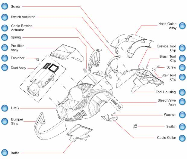 Dyson DC11 Upper Motor Cover Component Parts