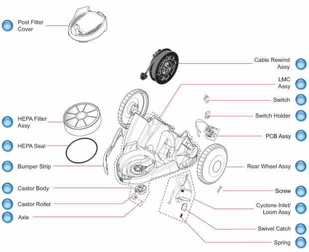 Dyson DC21 Lower Motor Cover Schematic