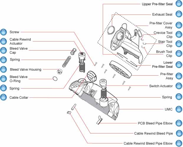Dyson DC21 Upper Motor Cover Schematic
