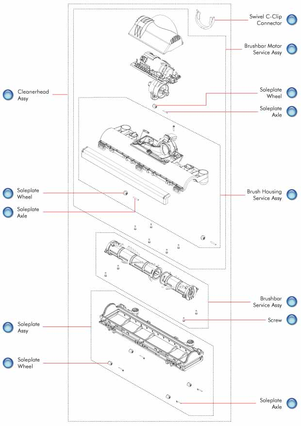 Dyson Vacuum Cleaner DC41 Cleaner Head Schematic