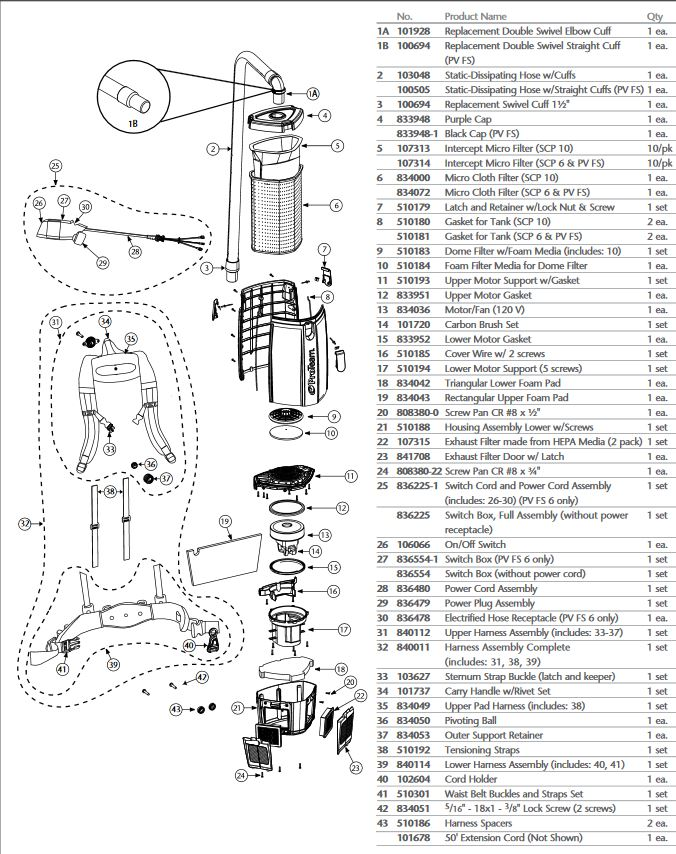 proteam super coach pro 10 quart vac parts evacuumstorefind every replacement part for the proteam super coach pro 10 quart back pack vacuum using our easy to read parts diagram