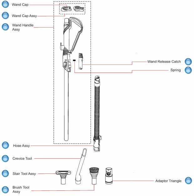 Dyson Vacuum Cleaner DC40 Wand and Hose Schematic