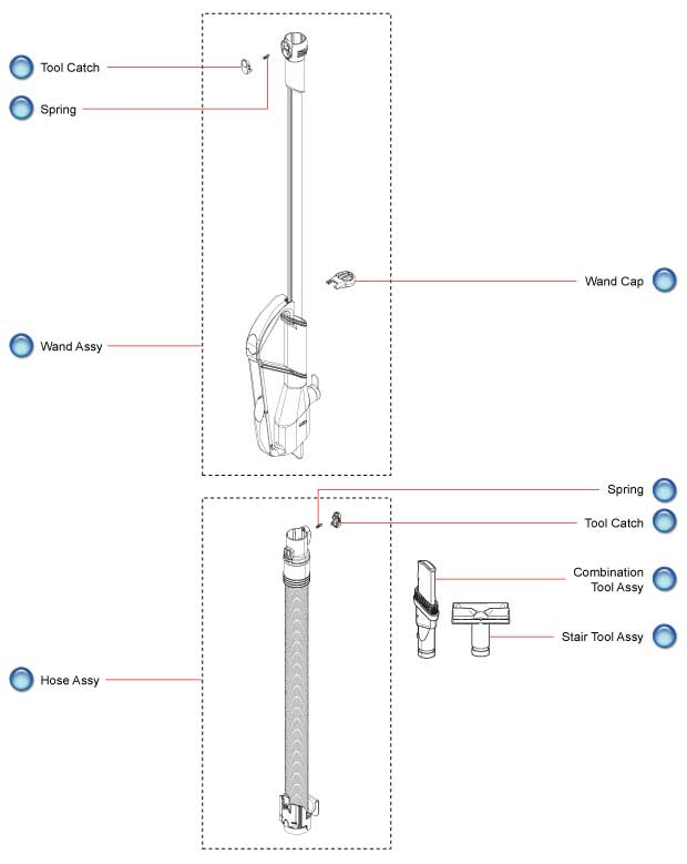 Dyson Vacuum Cleaner DC27 Wand and Hose Schematic