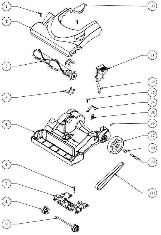 eureka vacuum cleaner parts diagram