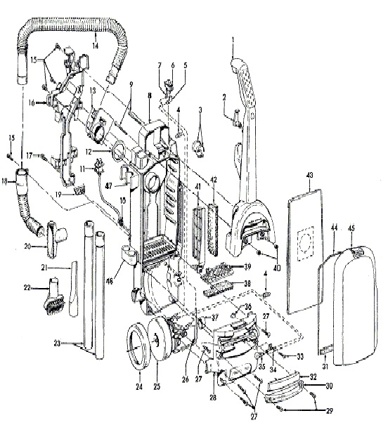 Hoover Tempo Upright Vacuum Cleaner Parts Diagram