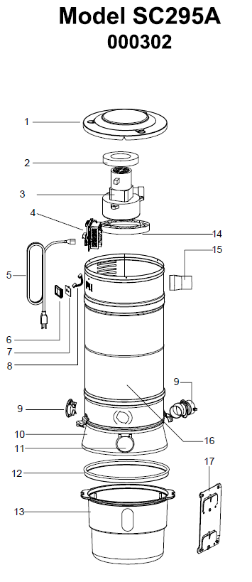Beam       Central       Vacuum    SC295A Parts    Diagram      eVacuumStore