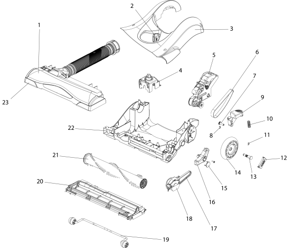 Eureka AS1104A Upright Vacuum Parts List And Diagram