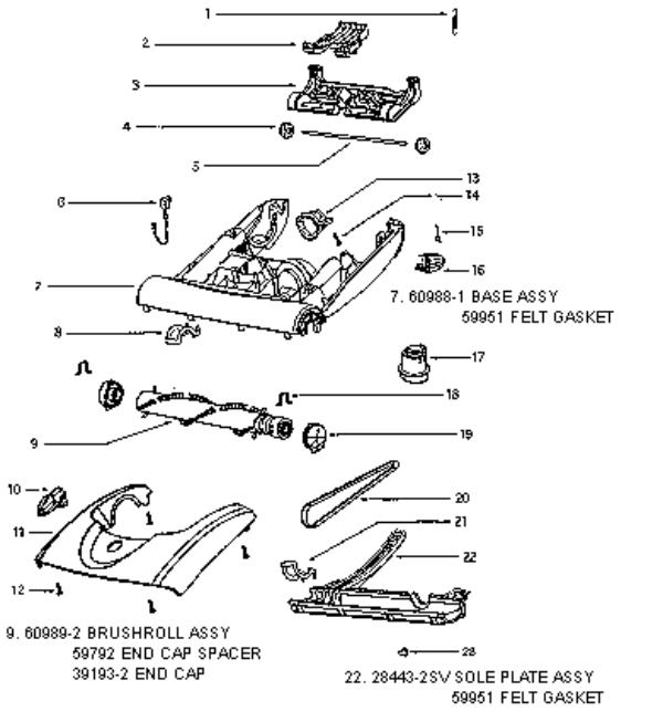 eureka series 6200 factory parts diagrams and schematics  evacuumstore com