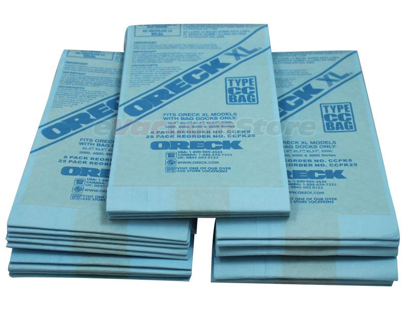 Oreck Upright Xl Type Cc Vacuum Bags Genuine With Bag Dock 25 Pack