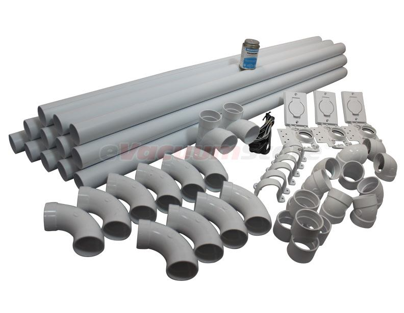 Standard White Central Vacuum 3 Inlet Kit With Pvc Pipe