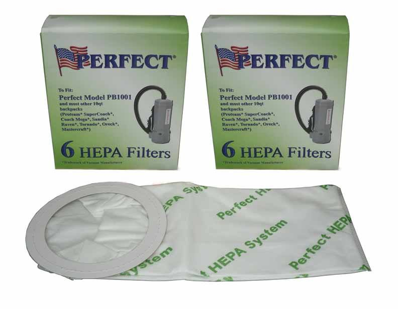Perfect Backpack 6 Quart HEPA Bags, 12 Pack