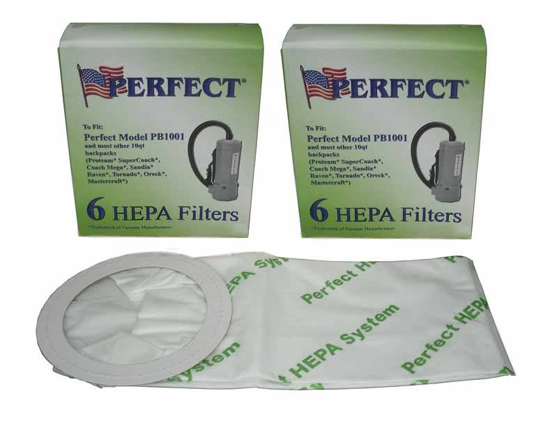Perfect Backpack 10 Quart HEPA Bags - 12 Pack