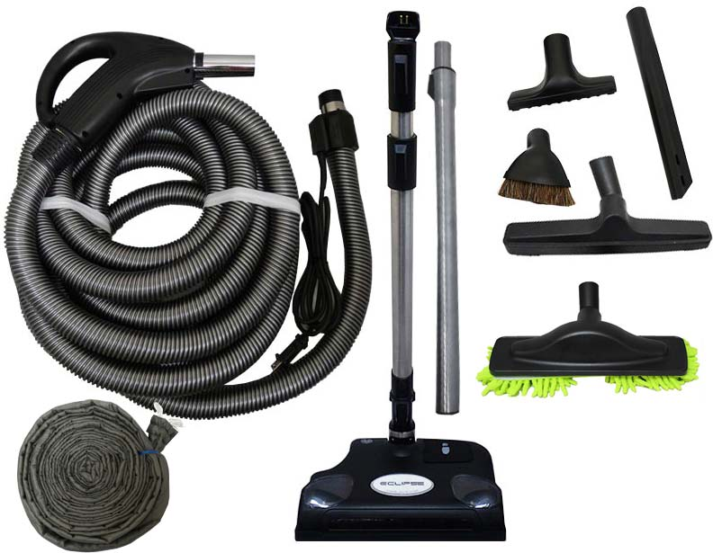 Soft Carpet Powerhead Central Vacuum Accessory Kit 30 Ft Pig-Tail