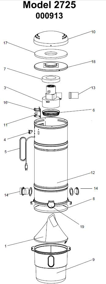 Beam Serenity Plus 2725 Central Vacuum Parts