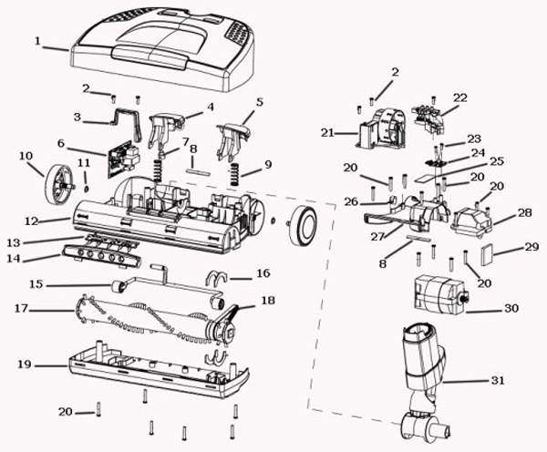 Power Nozzle Diagram And Parts List For Electrolux Vacuumparts Model