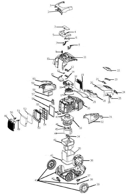 electrolux ultrasilencer canister model 7060a evacuumstore comDiagram Parts List For Model El6985a Electroluxparts Vacuumparts #6